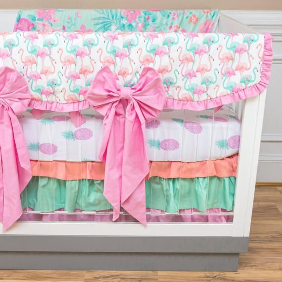 Baby Girl Crib Bedding Nursery Set Ruffles Crib Bow