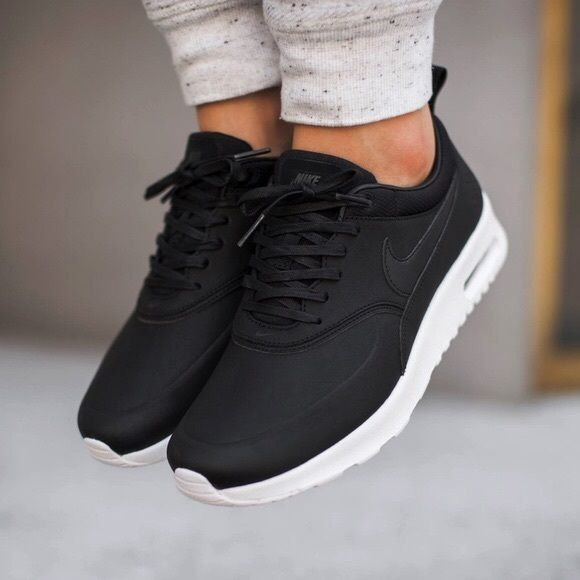 Nike Air Max Thea Black Premium Leather Sneakers NWT