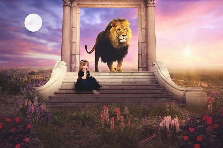 """Narnia! It's all in the wardrobe just like I told you!"" #narnia #aslan #photoshop #yourartside #digitalbackdrop #ig_shotz_magic #photography #brisbanephotographer #composite #photomanipulation"