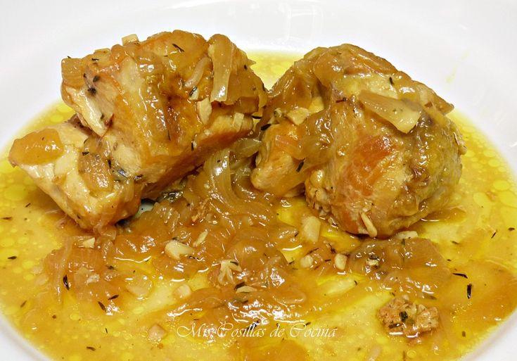 Pollo encebollado al cava - Mis Cosillas de Cocina