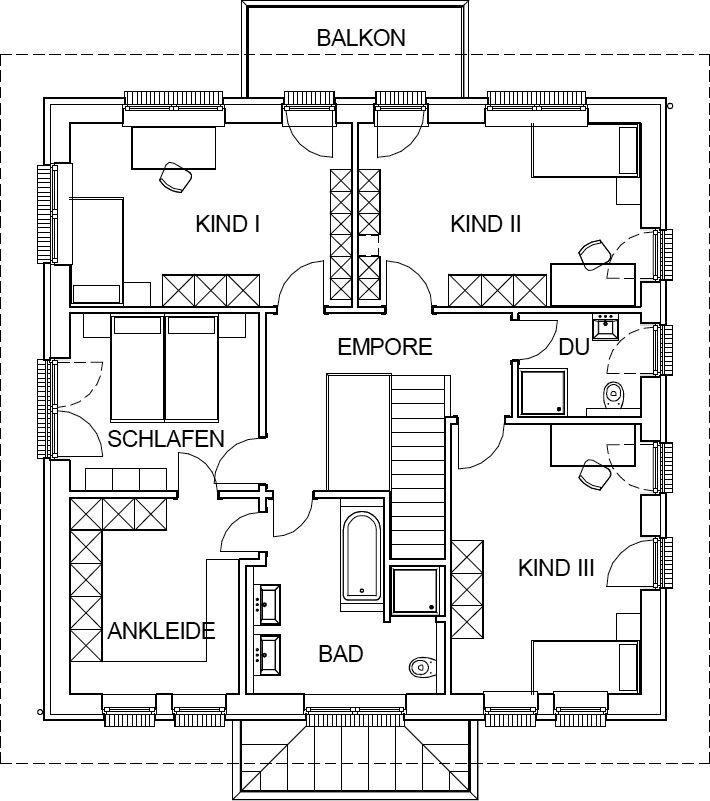 Stadtvilla mediterran Grundriss Obergeschoss mit 103,62 m² Wohnfläche