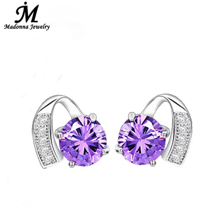2016 High Quality Starry Luxury Purple Crystal Inlay Heart Design 925 Sterling Silver stud Earrings Fashion Women Jewelry Brand