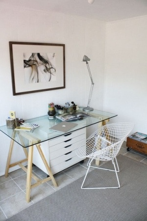 Ikea desk sawhorse legs with glass top alex flat file for Ikea glass work desk