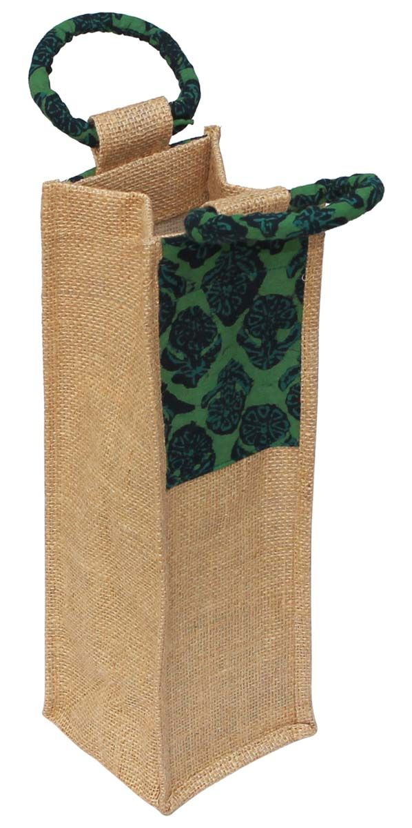 Wholesale Handmade Beige Color WineBottleCover Holder in Jute with Green Color Cotton Patch with Floral Motifs – Adorned with Twin Handles on the Top – Bags & Wraps for Wine Bottles