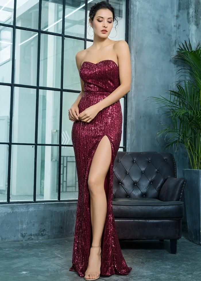 5be1fa14de1a Deep Red Maroon Strapless Prom Evening Formal Elegant Maxi Mermaid Slit  Dress Gown