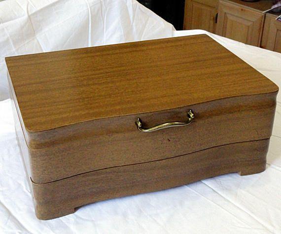 Vintage Oneida Community 1950u0027s Mid Century Wood Silverware Flatware  Storage Box Case Chest With Drawer