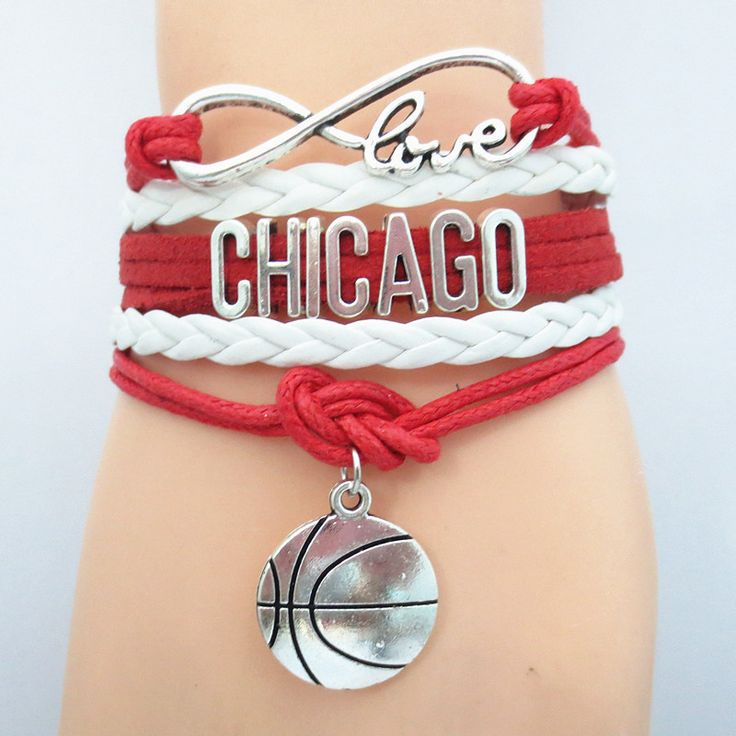 Infinity Love Chicago Basketball - Show off your teams colors with pride! Cutest Love Chicago Bracelet on the Planet! Many teams available. www.DilyDalee.co (Basketball Team)