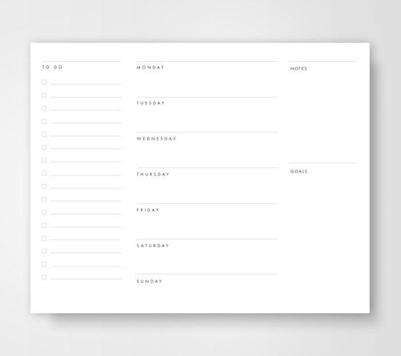 Weekly Planner To Do List Weekly Calendar Planners