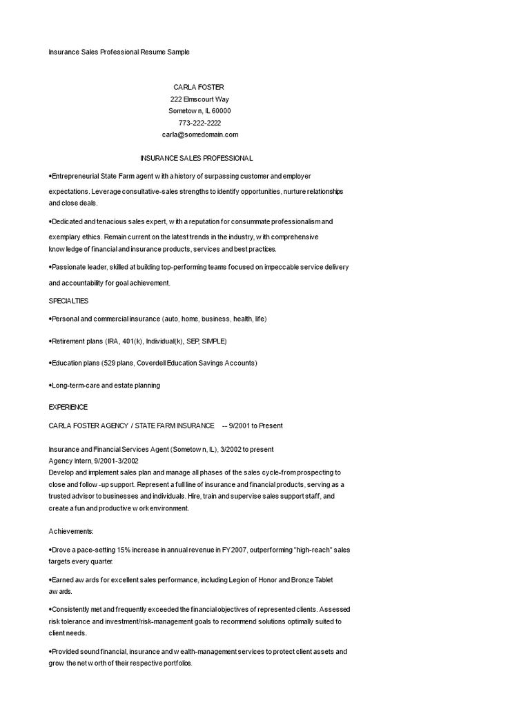Insurance sales resume sample how to create an insurance