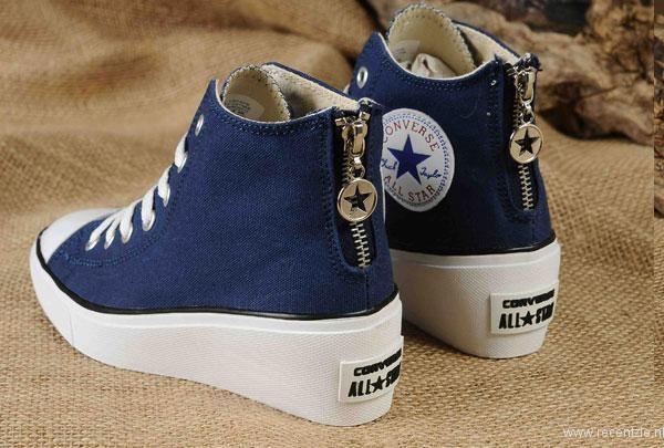 nieuwe stijl converse nederland - Nieuwe Dark Blue Converse All Star Platform Vrouwen High Tops Sneakers Chuck Taylor Canvas Zipper Elevate Bestellen