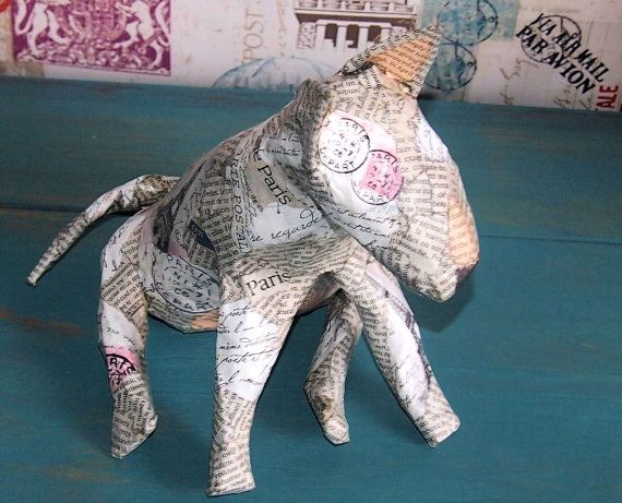 Beautiful Bull Terrier Paper Mache Sculpture 'An English Bull Terrier in Paris'  by BessiesBullies on Etsy