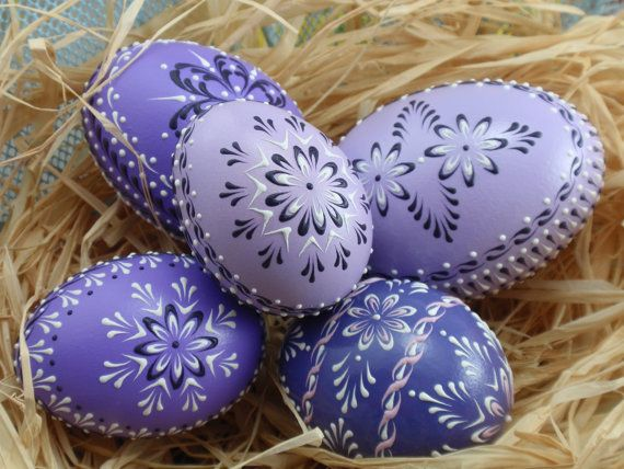 Set of 5 Easter Eggs in Purple, Decorated Chicken Eggs, Wax-Embossed Polish Pysanky, Kraslice. $69.95, via Etsy.