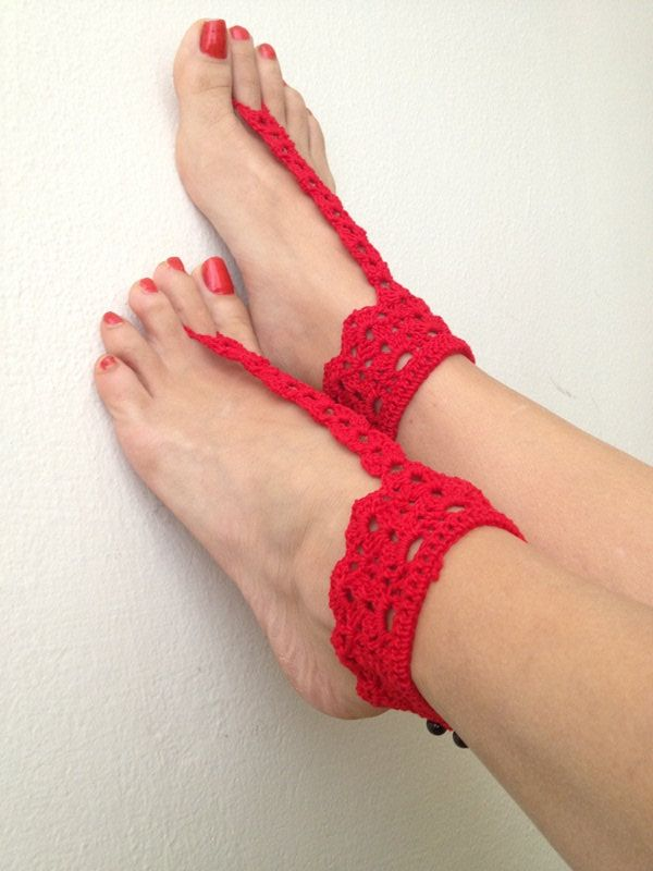 Red Aztec Barefoot Sandals, Nude shoes, bridesmaids , Wedding, Victorian Lace, Sexy, Bridal Accessories, Anklet