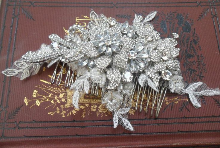 Crystal and lace hair comb
