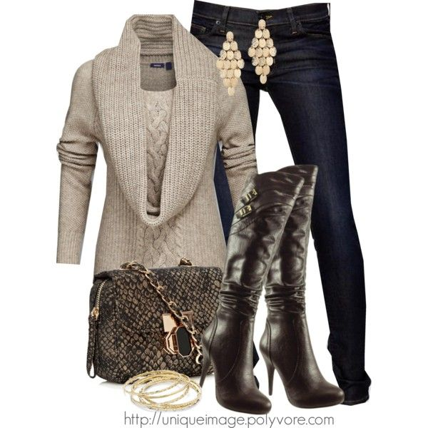 Chunky Beige Sweater by uniqueimage on Polyvore