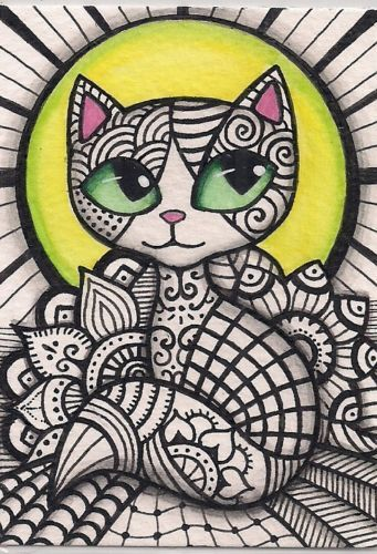 ACEO Zentangle Cat Original Art | eBay