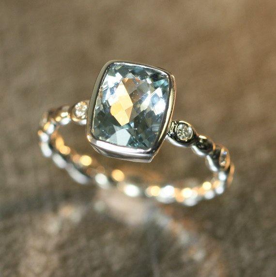 Handmade Aquamarine Ring in 14k White Gold Diamond Pebble Ring 9x7mm Cushion Aquamarine Engagement Ring Blue Gemstone Ring (Custom Made ok)