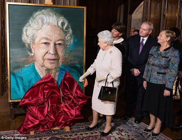 The Queen was joined by (pictured from left to right) First Minister of Northern Ireland Arlene Foster, Deputy First Minister Martin McGuinness, and Irish Minister Frances Fitzgerald