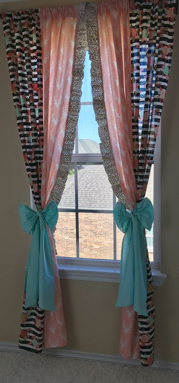 Ritzy Baby Designs, LLC - Gold Cheetah, Floral Stripe, and Pink Deer Valance/Curtain Panels, $35.00 (http://www.ritzybaby.com/gold-cheetah-floral-stripe-and-pink-deer-valance-curtain-panels/)