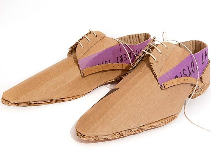 Mark O'Brien cardboard shoes