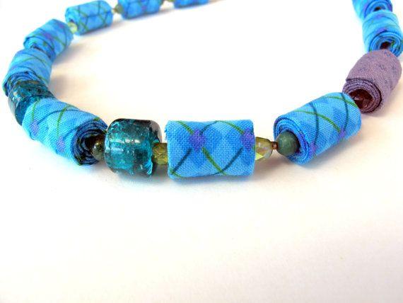 Bright Turquoise fashion fiber necklace by Gilgulim on Etsy, $49.00