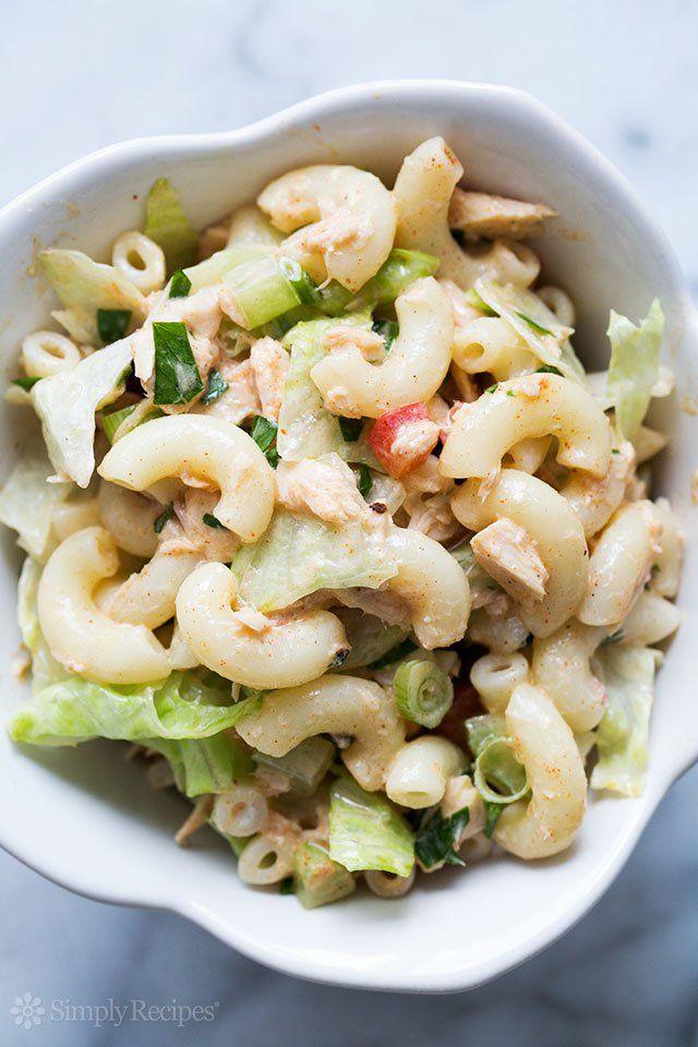 Tuna Macaroni Salad ~ Family favorite tuna macaroni salad, made with canned tuna, elbow macaroni pasta, bell peppers, parsley, green onion, iceberg lettuce, and mayonnaise. ~ SimplyRecipes.com