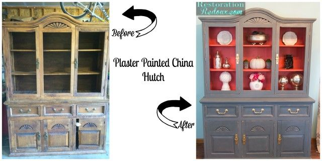 Plaster Painted China Hutch Makeover http://www.restorationredoux.com/plaster-painted-china-hutch/