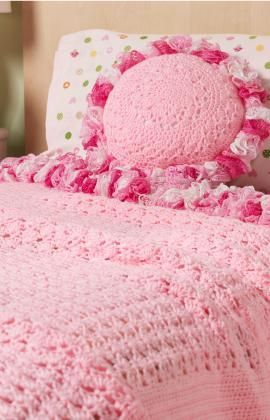 Sweet Ruffles Blanket & Pillow Free Crochet Pattern from Red Heart Yarns: