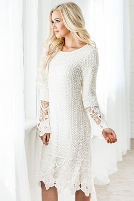 508fca9024c A white-hot modest dress great for graduation. Modest boho dress with white  crochet lace overlay.