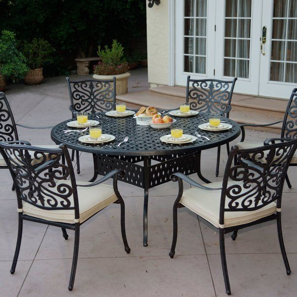 Best Archway 6 Piece Metal Dining Set With Cushions By Astoria Grand Furniture Patiofurniture Metal Dining Set Patio Dining Set Archway