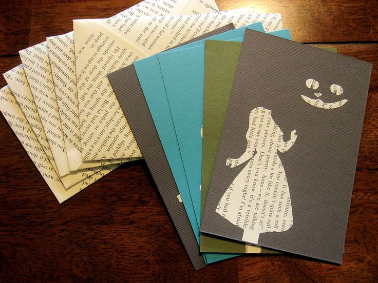 Cards: Tear out old book pages to make greeting cards. The background is suitable for all types of occasions — birthdays, graduations, and more.: