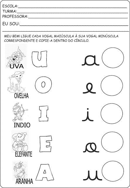 Atividade com vogais maiúsculas e minúsculas