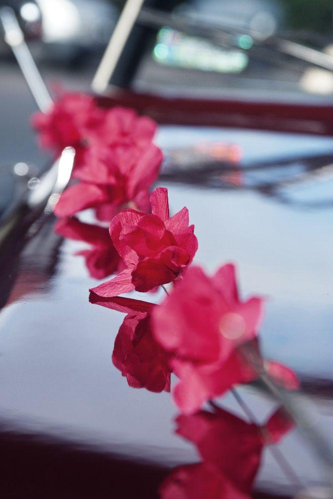 Beautiful Traumhafte Autodeko Für Die Hochzeit: Eine Girlande Mit Roten Blüten.  Einfach An Der Motorhaube