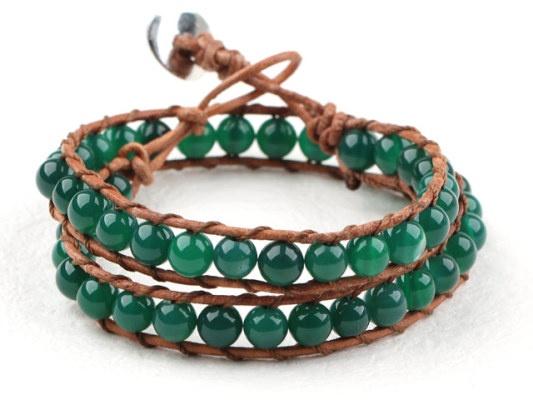 Wrap armband met groene agaat