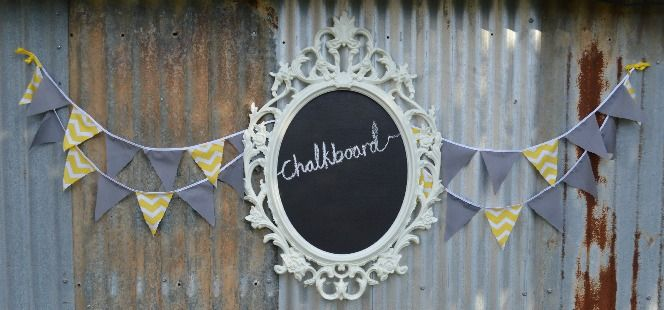 Grey & Yellow chevron party backdrop. Ikea UNG frame