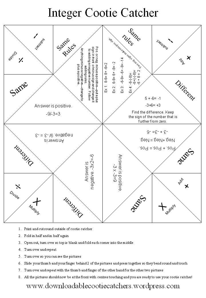 Integer Cootie Catcher - working on integers now. Not a math teacher, but kids still have questions. This could be modified for various math concerns. :)