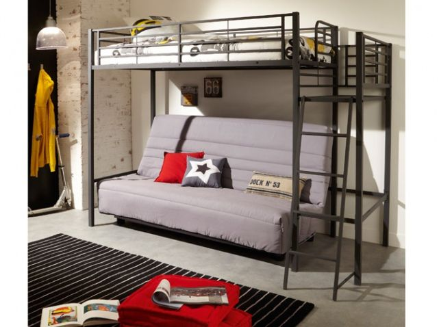 lit mezzanine acier id es chambre pinterest lieux mezzanine et d co. Black Bedroom Furniture Sets. Home Design Ideas
