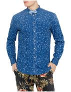 Scotch & Soda Long Sleeve Printed Denim & Stripe Bow Tie Shirt $159.95  #fashion #style #blue #trend #shop #menswear