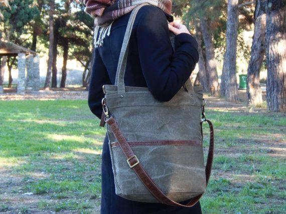 Waxed canvas bag Waxed canvas tote bag laptop bag by Laroll