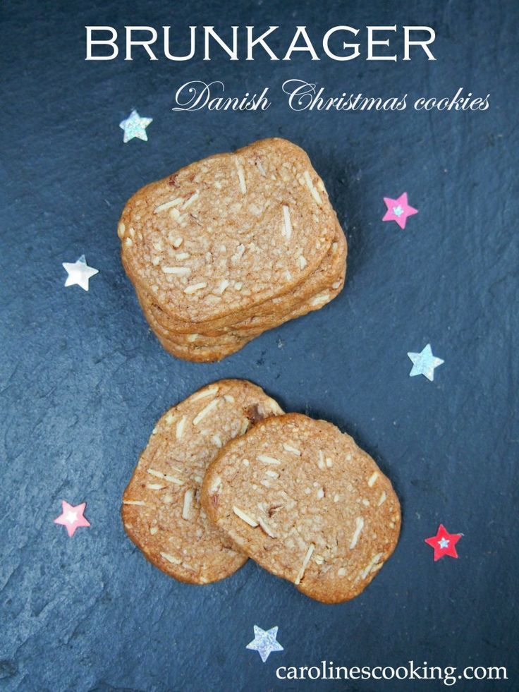 Brunkager (Danish Christmas cookies) - a delicious spiced cookie with almonds, this version made slightly healthier.