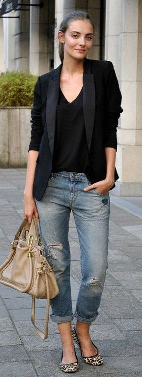 summer outfits  Black Blazer + Ripped Jeans