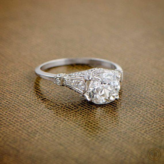 2.04ct Antique Old Mine Cut Diamond Engagement Ring - Estate Diamond Jewelry Collection - Circa 1920