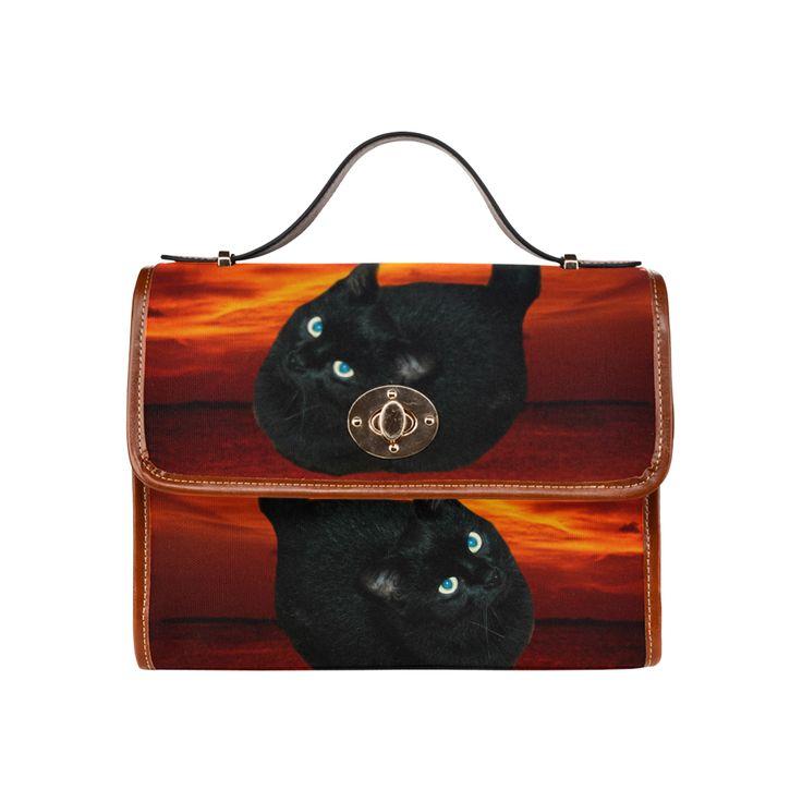 Black Cat Waterproof Canvas Bag/All Over Print (Model 1641)