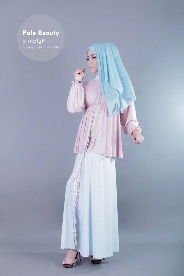 #SimplyMii #Syifaa Poly Cardigan - Pale Dusty Pink - Korean Jersey - IDR 220.000  Sofie Trisha Skirt - Pale Blue with pale pink frill - Korean Jersey - IDR 225.000
