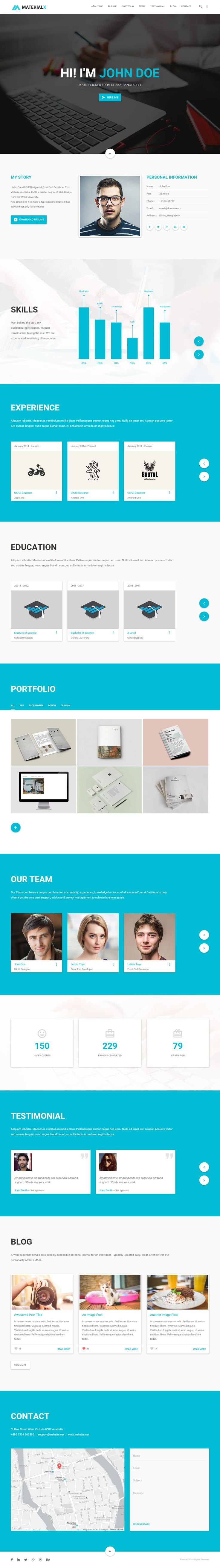 MaterialX is Premium full Responsive Resume HTML5 template. Retina Ready. Bootstrap 3. Material Design. One Page. Google Map. Test free demo at: http://www.responsivemiracle.com/cms/materialx-premium-responsive-material-design-personal-html5-template/