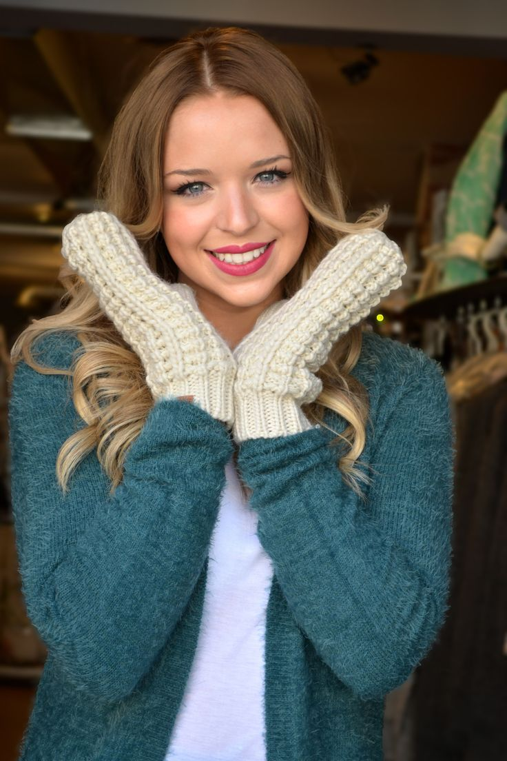 Knitted Cable Mitts - $12  Available at www.shopagent99.com