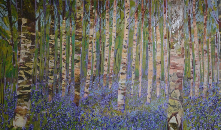 """Cynthia Van Frank - """"Birches on Yellow Ground"""" 40"""" x 36"""" For lease or purchase www.artli.ca Lease for $130 per month"""