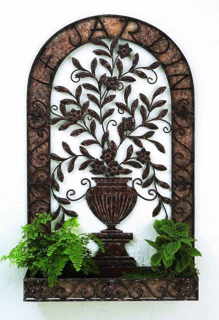 "Tuscan """"Le Gardin"""" Iron and Tole Wall Planter with Urn Accent"