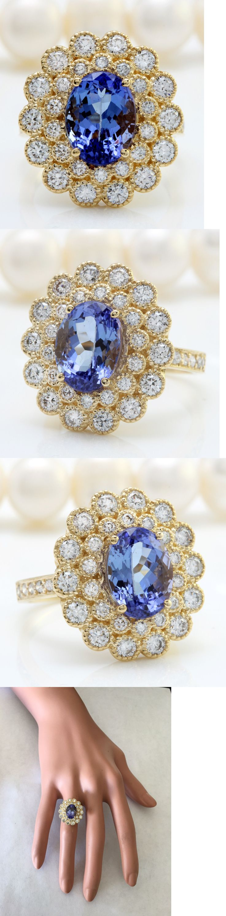 Gemstone 164343: 5.49Ctw Natural Blue Tanzanite And Diamond In 14K Solid Yellow Gold Women Ring -> BUY IT NOW ONLY: $2199 on eBay!