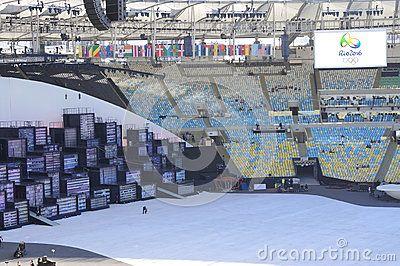 Metropolis Stage for Rio2016 Olympic opening ceremonies at Maracana Stadium in Rio de Janeiro, Brazil